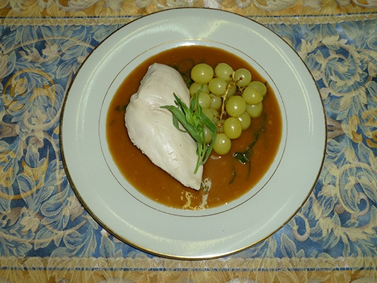 Poached Chicken in White Wine Tarragon Sauce and Roasted Grapes