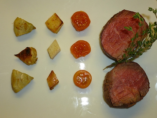 Fillet of Beef with Potatoes, Artichokes and Cherry Tomatoes