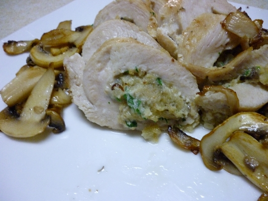 Stuffed Chicken Cutlet with Mushrooms and Artichoke Hearts