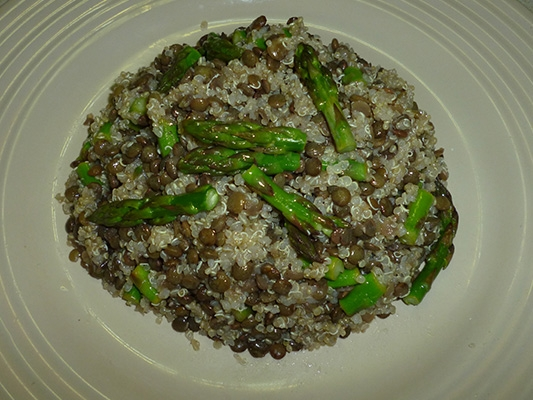 Quinoa and Black Lentils with Asparagus
